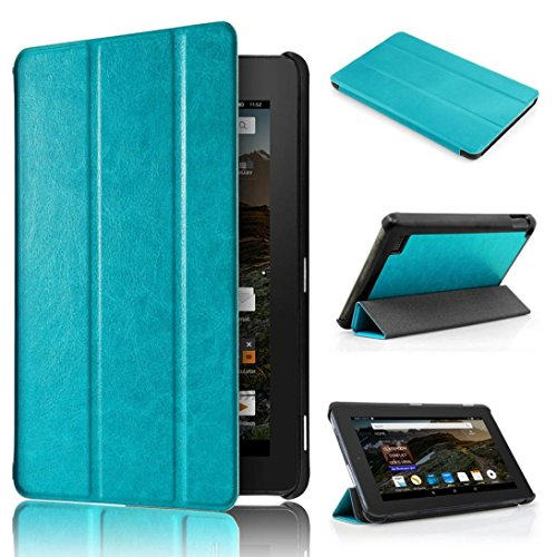 Tiean Ultra Slim Leather Case Stand Cover for Amazon Kindle Fire HD 7 2015 Tablet (Blue)