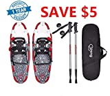 """Gpeng Snowshoes Snow Shoes 14"""" /21""""/ 25""""/ 27""""/ 30"""" for Adults Men Women Youth Kids with Pair Antishock Snowshoeing Poles, Adjustable Ratchet,Free Bag"""