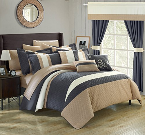 Chic Home 24 Piece Covington Complete Bedroom Set with Octagon Embroidery, King, Grey