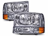 Fleetwood Discovery 2003-2006 RV Motorhome Pair (Left & Right) Diamond Clear Front Headlights Turn Signal Lights Lamps 4 PC Set