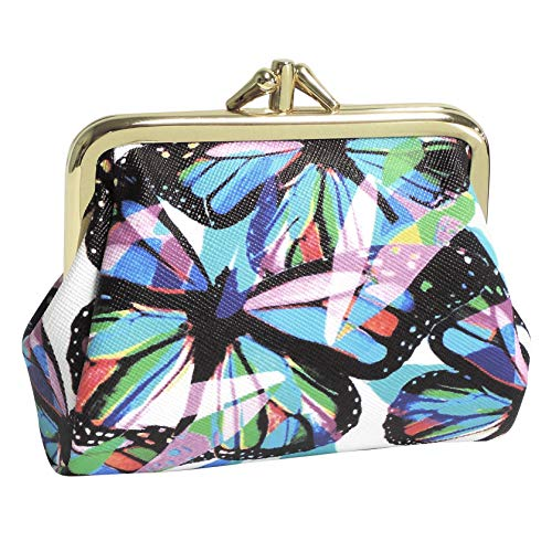 Buxton Womens Leather Triple Frame Coin Purse Credit Card Holder Wallet (Butterfly)