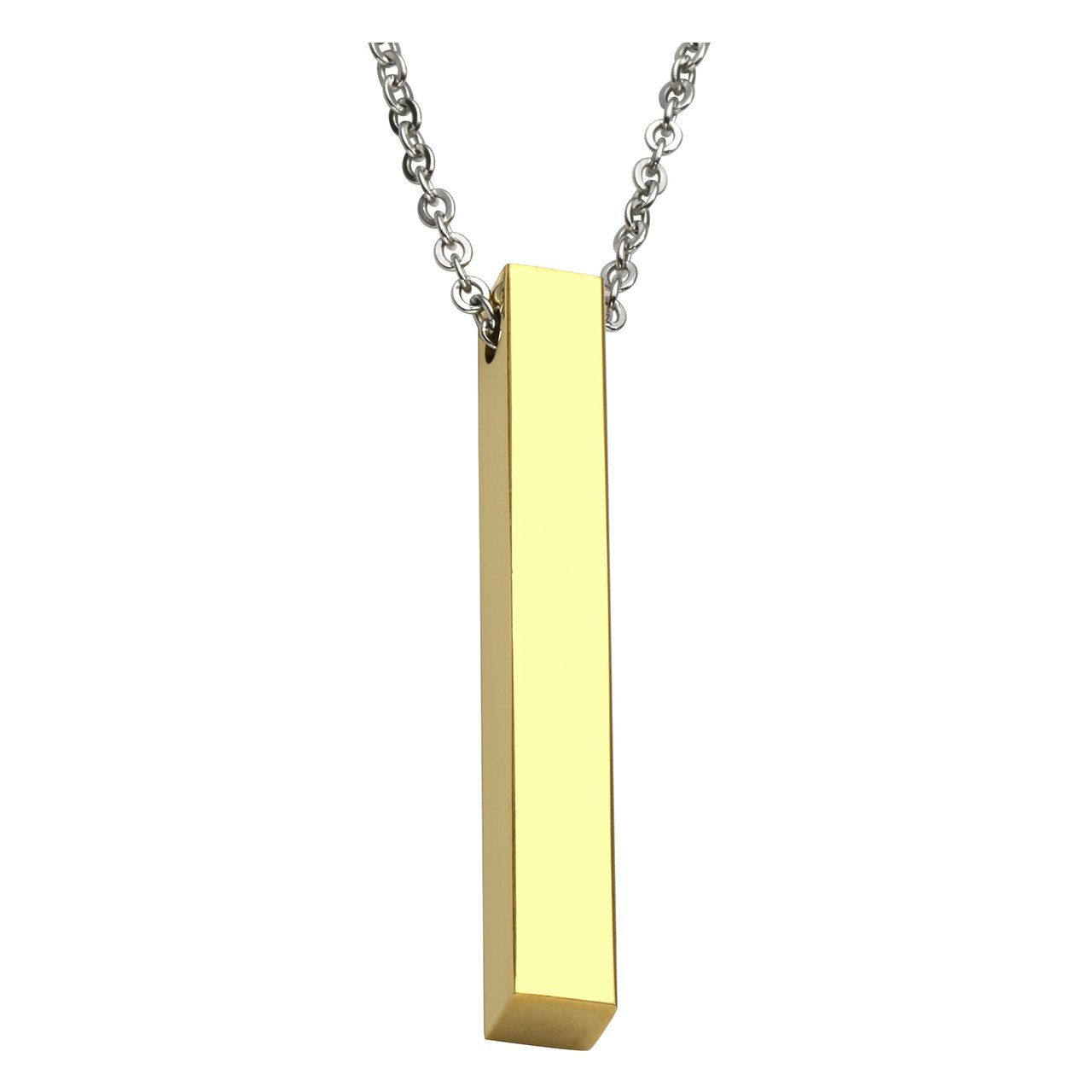 PiercingJ - Bijoux Collier Pendentif Gravure Personnalisée Poli Rectangle Style Militaire Armée Acier Inoxydable Cadeau AXFR18538