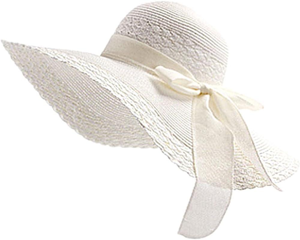 Leisial Mujer Ocio Sombrero de Playa de ala Ancha Protector Solar Visera Sombrero de Paja Verano,Color Amarillo