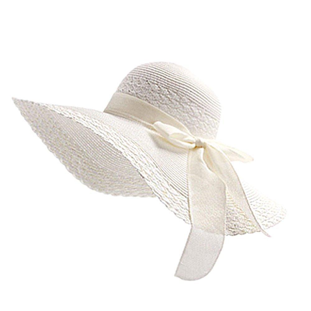 5d25dfd0c03 Cupcinu Straw Hats Summer Sun Beach Hats Bowknot Wide Brim Straw Hats  Foldable Packable Floppy Straw Hats Sun Visor Anti-UV for Women Girls  Ladies  ...