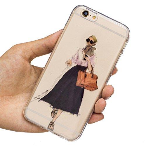 Crisant Trend Mädchen Drucken Design weich Silikon Ultra dünn TPU Transparent schutzhülle Hülle für Apple iPhone 6 6S 4.7'' (4,7''),Premium Handy Tasche Schutz Case Cover Crystal Bumper Schale für App