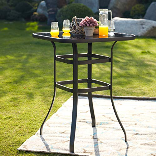 LOKATSE HOME Bar Height Counter Tall Patio Table Outdoor Bistro Glass Top All Weather Metal Frame Square Tempered Furniture