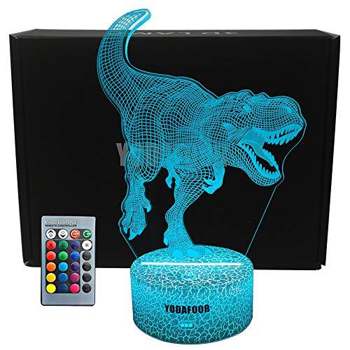 YODAFOOR T-rex Dinosaur Night Light Lamp Dinosaur Sets for Boys Teen Kids Birthday Halloween Nursery Decor Lamp Bedroom Table Decoration (T-Rex)