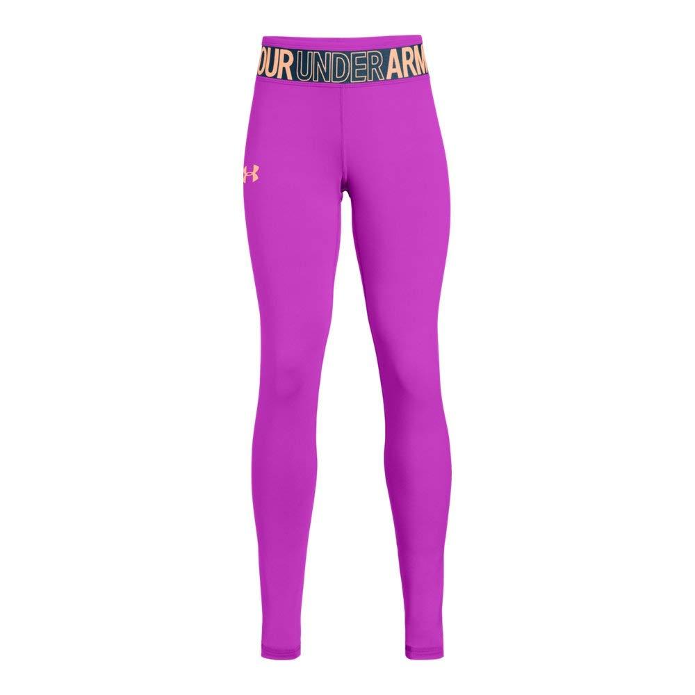 Under Armour Girls' Armour HeatGear Legging, Fluo Fuchsia (565)/Peach Horizon, Youth X-Large by Under Armour
