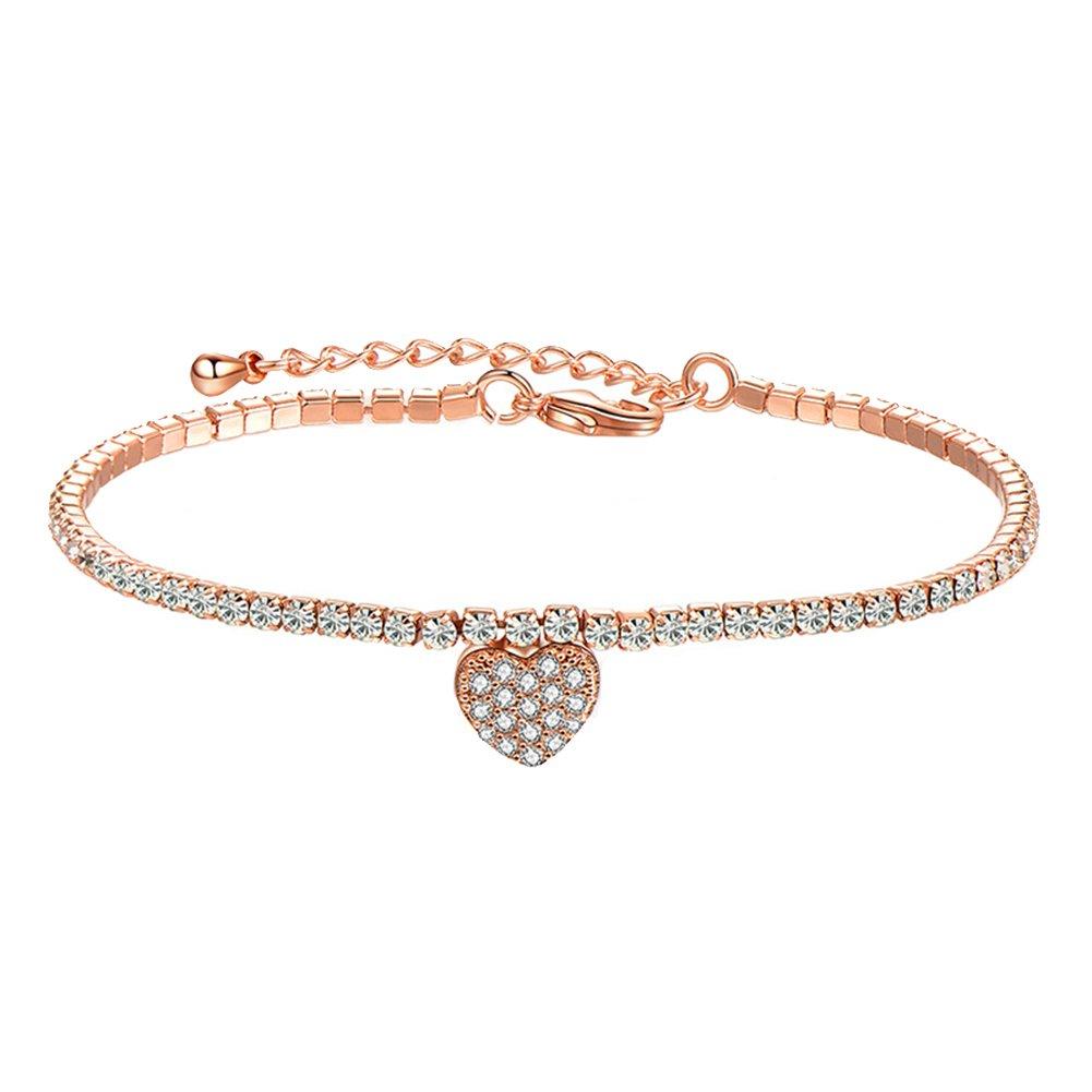 Oldlila Plated Heart Pendant Design Bracelet Charm Adjustable Bracelet Gift for Women Girls (Gold)