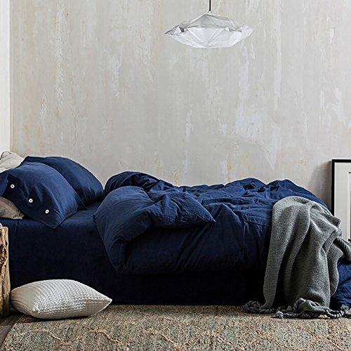 Blue Duvet Cover Set Queen, 3 piece - 1200 TC Hotel Luxury Hypoallergenic Microfiber Down Comforter Quilt Bedding Cover with Deco Buttons, Zipper, Ties - Best Modern Style for Men - Styles Modern Men