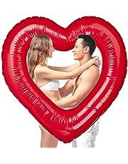 Relaxdays Hart zwemring, opblaasbare baden in hartvorm, voor bruiloft & Valentijnsdag, als decoratie of geschenk, rood