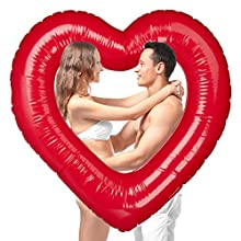 Relaxdays Flotador Corazón, PVC, Rojo, 20 x 100 x 100 cm