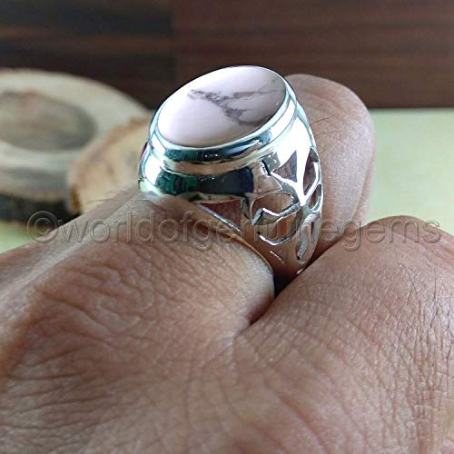 Gemstone Designer Bands - howlite ring, solid 925 sterling silver, howlite men's ring, gemstone man's ring, father's day gift ring, anniversary gift band, designer man's ring, metaphysical ring, healing power, gift able ring
