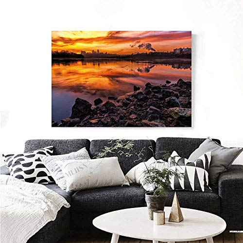 Landscape Canvas Wall Art USA Missouri Kansas City Scenery of a Sunset Lake Nature Camping Themed Art Photo Print Paintings for Home Wall Office Decor 28