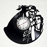 Beauty and The Beast Story Handmade Vinyl Record Wall Clock - Get unique bedroom or nursery wall decor - Gift ideas for his and her – Fantasy Film Characters Unique Art Design