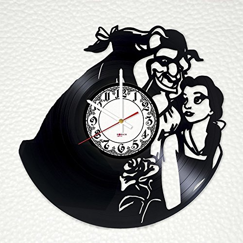 Cogsworth Beauty Beast (Beauty and The Beast Story Handmade Vinyl Record Wall Clock - Get unique bedroom or nursery wall decor - Gift ideas for his and her – Fantasy Film Characters Unique Art Design)