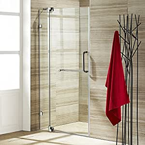 VIGO Pirouette 36 to 42-in. Frameless Shower Door with .375-in. Clear Glass and Brushed Nickel Hardware