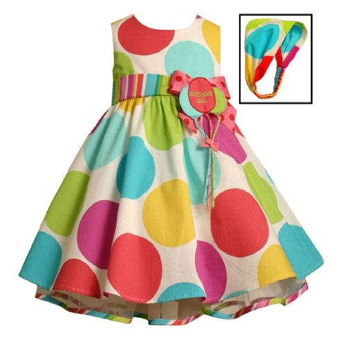 Bonnie Jean Baby Girls Polka Dot Balloon Birthday Dress , Multi , 12M -