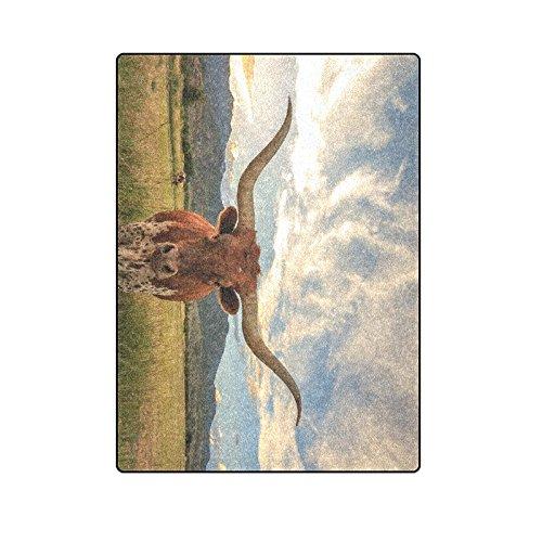 Unique Debora Custom Blanket Throw Super Soft Warm Fuzzy Lightweight Bed or Couch Blanket with Texas Longhorn Steer In Rural Utah