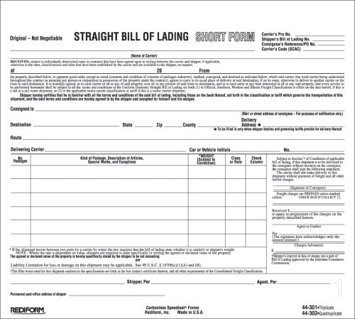 Amazon.Com : Rediform 44302 Bill Of Lading Short Form, 8 1/2 X 7