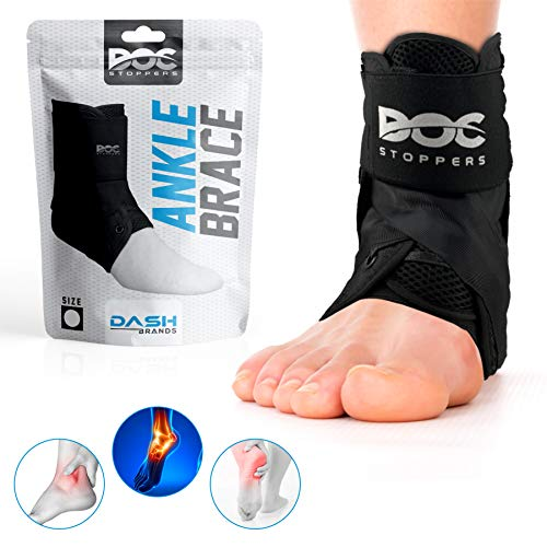 DOC-Stoppers Ankle Brace. Lace Up Ankle Brace for Sprains, Injuries, Sports, and Recovery. Adjustable Ankle Support for Men, Women, and Children.