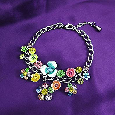 1127 Glamorousky Flower Bracelet with Multi-Colour Austrian Element Crystals and Flower Charms
