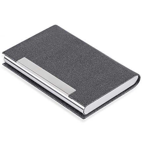 Business Card Holder Business Card Case - Name Card Holder Luxury PU Leather & Stainless Steel Multi Card Case Wallet Credit Card ID Case/Holder for Men & Women (Gray-01)