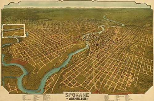 (Spokane, Washington - (1905) - Panoramic Map (12x18 Art Print, Wall Decor Travel Poster))
