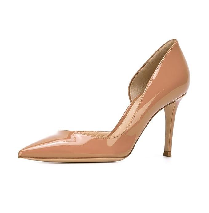 5262a5eeaf37db Damen Faschion 10cm High Heels DOrsay Two-Piece Stiletto Knöchelriemchen  Pumps Schuhe Beige EU35 Kolnoo