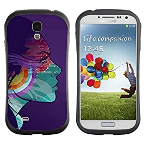 Hybrid Anti-Shock Bumper Case for Samsung Galaxy S4 / Colorful Girl Psychedelic