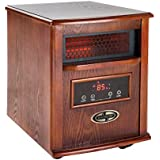 Quartz Infrared Heater 1500-Watt Featuring Temperature Sync Technology with Remote Control, Dark Oak Finish