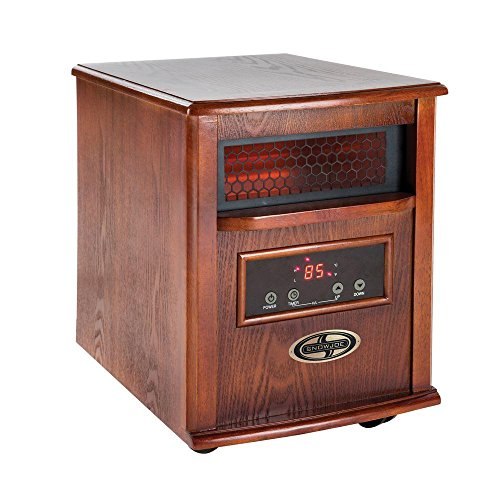 Quartz Infrared Heater 1500-Watt Featuring Temperature Sync Technology with Remote Control, Dark Oak Finish Infrared Heaters Snow Joe_GLO