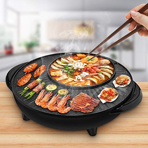 MSRUIOO Electric Grill with Shabu Shabu Hotpot,1500W Indoor And Outdoor BBQ Smokeless Grill