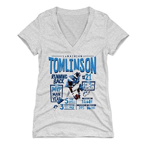500 LEVEL LaDainian Tomlinson Women's V-Neck Shirt (Large, Tri Ash) - San Diego Chargers Shirt for Women - LaDainian Tomlinson Position L