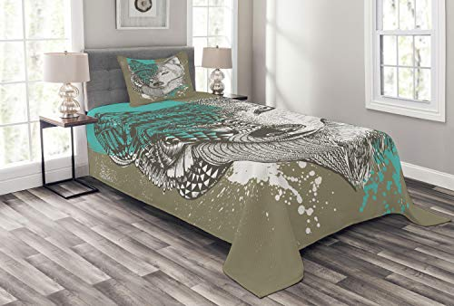 Lunarable Wolf Bedspread, Hand Drawn Illustration Zentangle Wolf with Paint Splatters Print, Decorative Quilted 2 Piece Coverlet Set with Pillow Sham, Twin Size, Jade Green (Wolf Twin Bedspread)