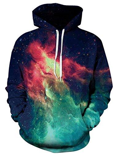 Loveternal Unisex 3D Galaxy Cosmic Nebula Space Printed Pullover Hooded Sweatshirt Cool Hoodies for Men Women L/XL