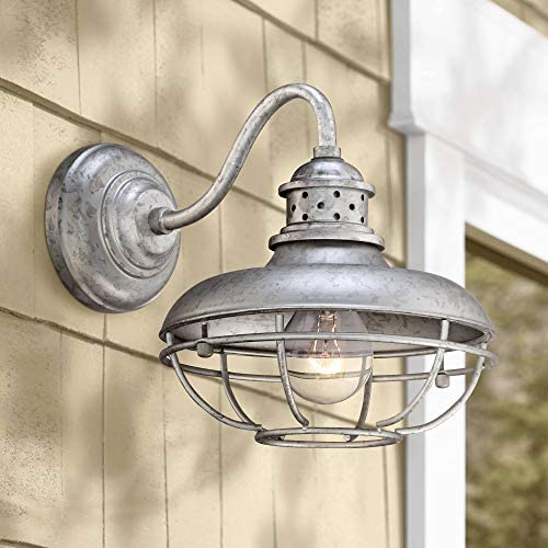 Franklin Park Rustic Farmhouse Outdoor Barn Light Fixture Galvanized Steel Open Cage 13″ White Glass Orb Diffuser Damp Rated