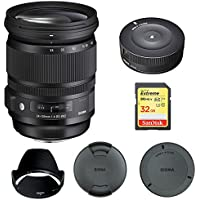 Sigma 24-105mm F/4 DG HSM Lens for Sony (635-205) with Sigma USB Dock for Sony Lens & Lexar 32GB Professional 1000x SDHC Class 10 UHS-II Memory Card