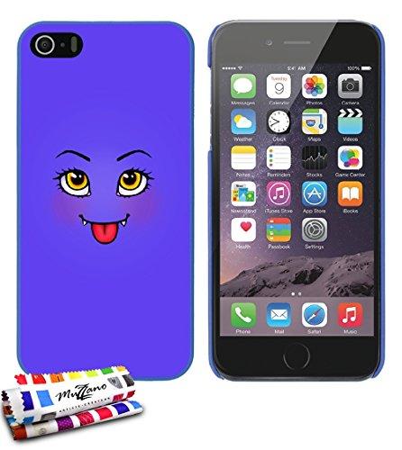 Ultraflache weiche Schutzhülle APPLE IPHONE 5S / IPHONE SE [Niedliches Monster lila] [Blau] von MUZZANO + STIFT und MICROFASERTUCH MUZZANO® GRATIS - Das ULTIMATIVE, ELEGANTE UND LANGLEBIGE Schutz-Case
