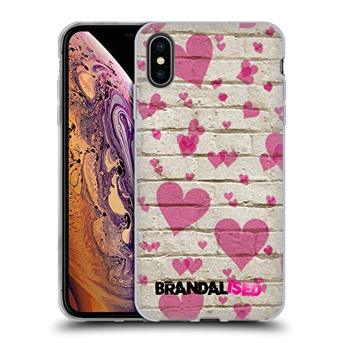 (Official Brandalised Heart Patterns Banksy Art Street Vandals Soft Gel Case Compatible for iPhone Xs)