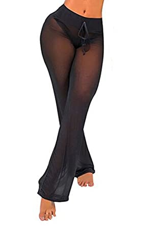 bd979594b4 Viclearshop Women's See Through Sheer Mesh Legging Pant Swimsuit Bikini  Bottom Cover up (Black,