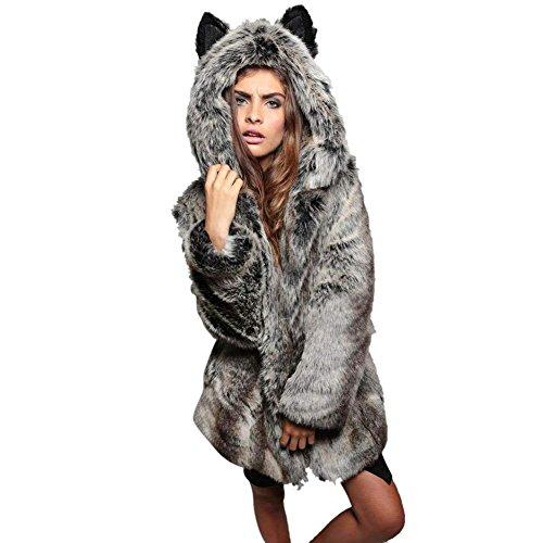 Warm Manteau Longues Automne Fourrure Synthétique Femme Hiver Chat Jacken Casual Manches Grau De Breal Blouson Veste Élégant Mode Confortable Unicolore En Oreilles y0O8wvmNn