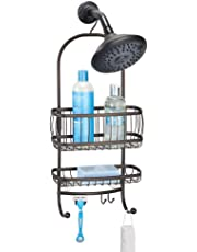 mDesign Organizador de ducha con baldas para baño y ganchos para colgar –  Cesta de ducha 4234674120bf