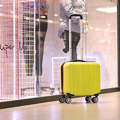 fish Fashion 17 Zoll Caster Kleiner Koffer Damen 14 Zoll Mini Kinder Boarding Chassis Trolley Passwort Koffer Kosmetikbox, gelb