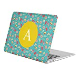 [ A - INITIAL ] [ Name Monogram Full Body Hard Case ][ Apple Macbook Air 11-inch 11'' (Model: A1370 / A1465) ] - [ Flat Sweets Fast Food Pattern ]