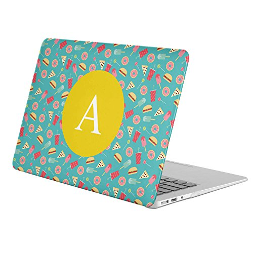 [ A - INITIAL ] [ Name Monogram Full Body Hard Case ][ Apple Macbook Air 11-inch 11'' (Model: A1370 / A1465) ] - [ Flat Sweets Fast Food Pattern ] by KoolMac
