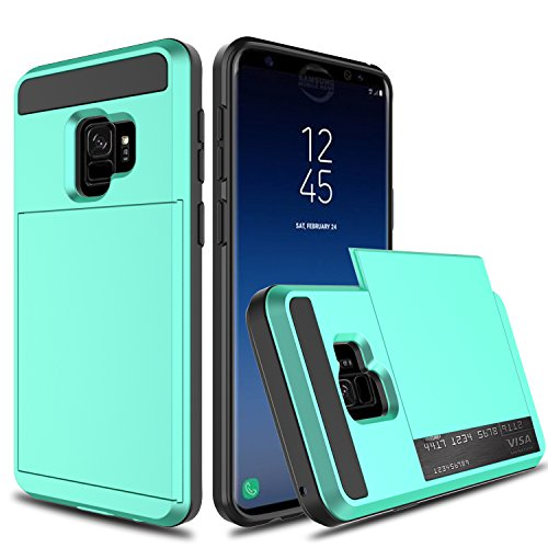 Galaxy S9 Case, Galaxy S9 Wallet Card Case, Venoro Slim Hybrid Dual Layer Shockproof with Wallet Design and Slide Card Slot Holder Protective Case Cover for Samsung Galaxy S9 / SM-G960U (Mint)