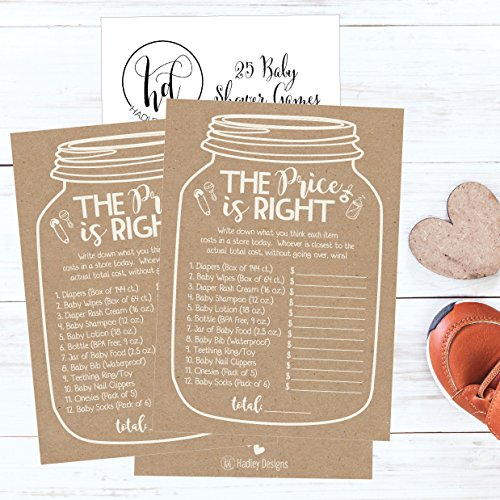 25 Rustic Guess If The Price is Right Baby Shower Game Ideas for Boys Girls Fun Party Activities Cards Best Gender Neutral Reveal Guessing Funny Questions Bundle Pack for Couples Decorations Supplies by Hadley Designs (Image #3)
