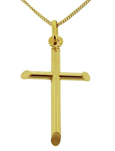 9ct Solid Yellow Gold Jesus on Cross Crucifix Pendant 26 x 17mm In Presentation Gift Box 38hAoGaj