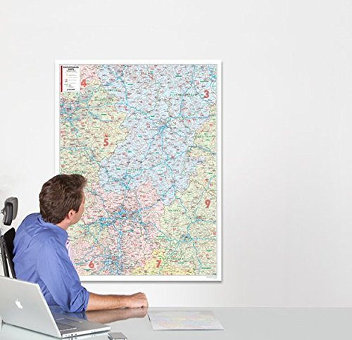 BACHER Postleitzahlenkarte Hessen Maßstab 1:250 000, Papierkarte gerollt, folienbeschichtet: Die Postleitzahlenkarte Hessen beinhaltet 1- und ... Ortsteile mit der Sterndarstellung.